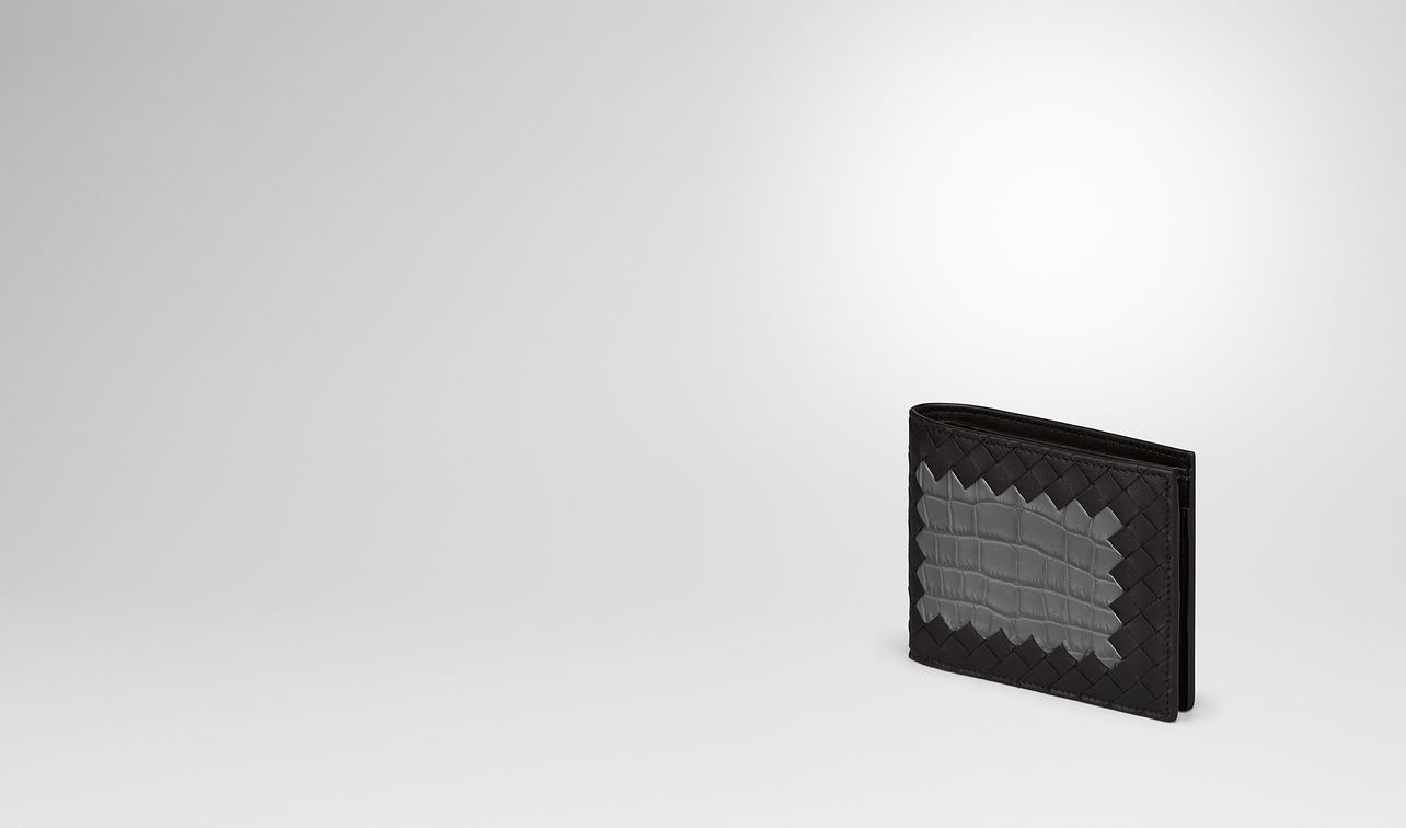 nero intrecciato nappa light grey crocodile wallet landing