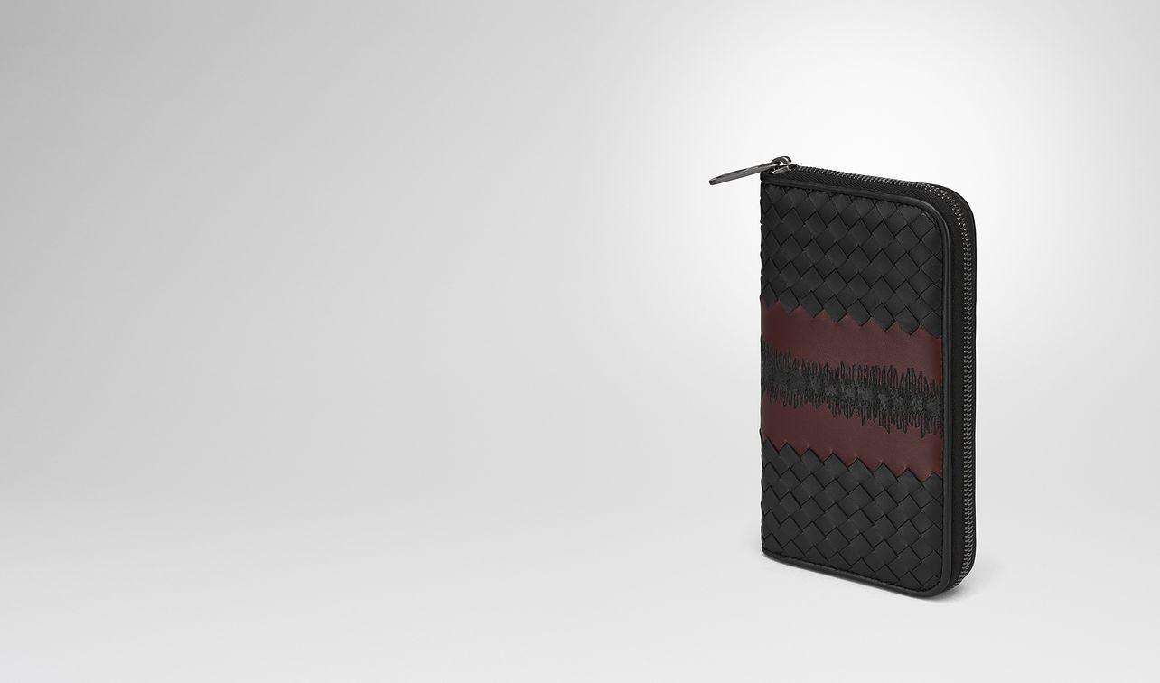nero intrecciato nappa zip-around wallet landing