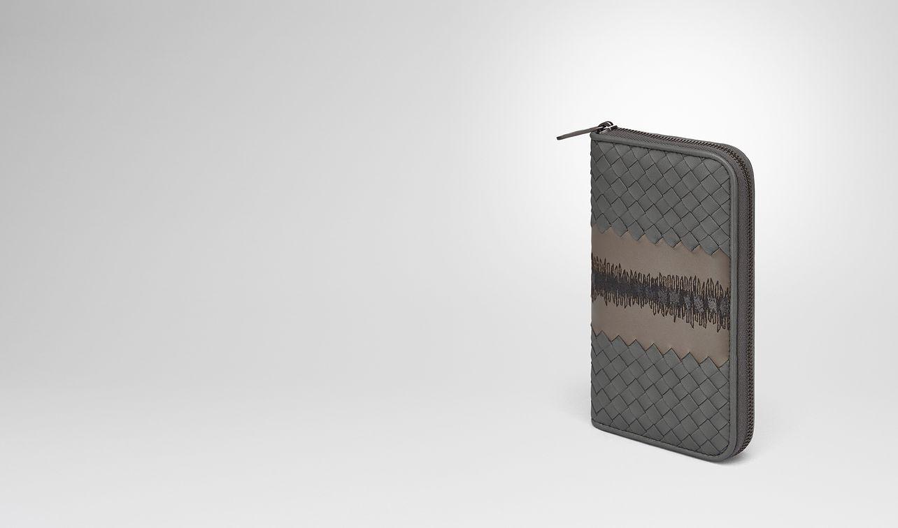 light grey intrecciato nappa zip-around wallet landing