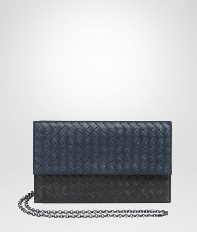 BOTTEGA VENETA DENIM INTRECCIATO NAPPA CONTINENTAL WALLET CHAIN WALLET Woman fp