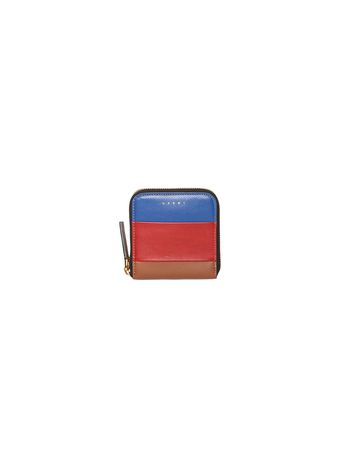 Marni Square wallet in blue calfskin Woman