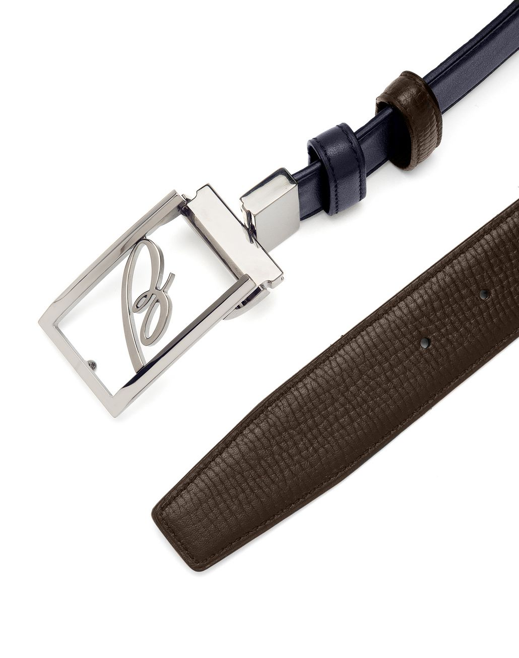 BRIONI Blue and Brown Adjustable and Reversible Logoed Belt Belt Man d