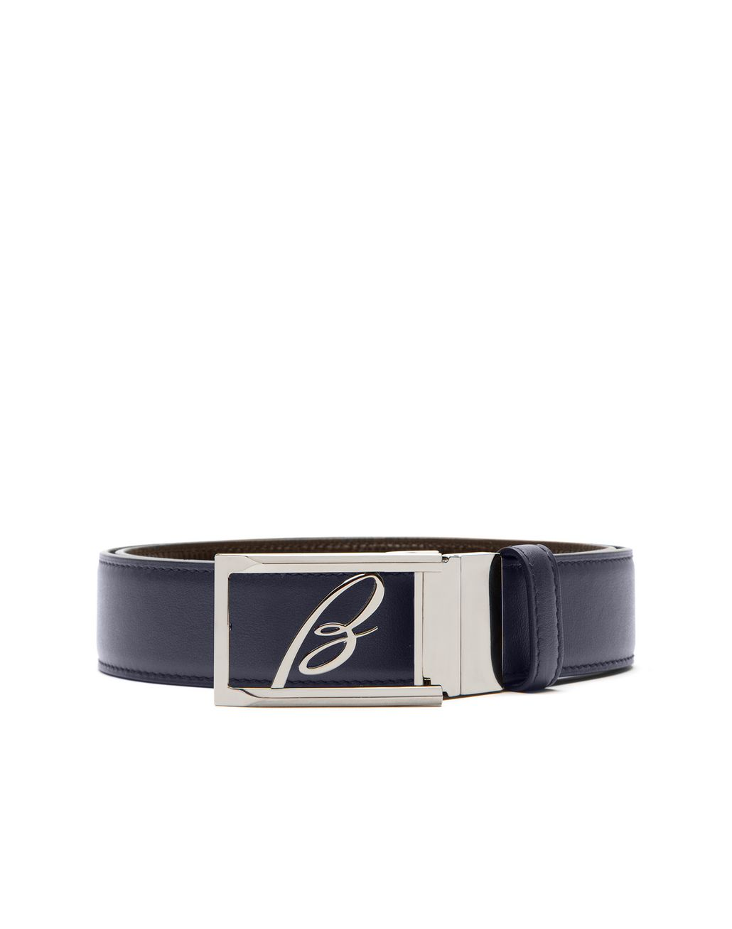 BRIONI Blue and Brown Adjustable and Reversible Logoed Belt Belt Man r