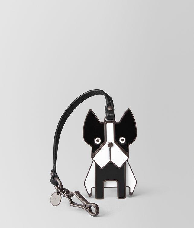 BOTTEGA VENETA NERO NAPPA/ENAMEL DOG CHARM Keyring or Bracelets E fp