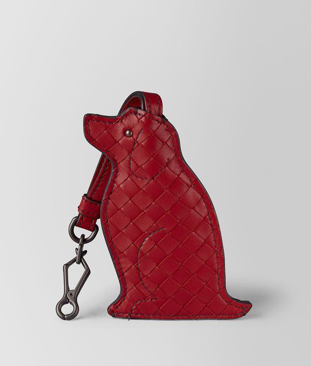 BOTTEGA VENETA HUNDE-SCHLÜSSELANHÄNGER IN CHINA RED Schlüsselring oder Armband E fp