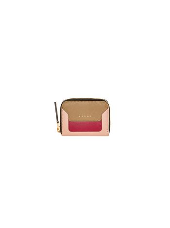 Marni Zip-around coin purse in green and pink saffiano calfskin Woman