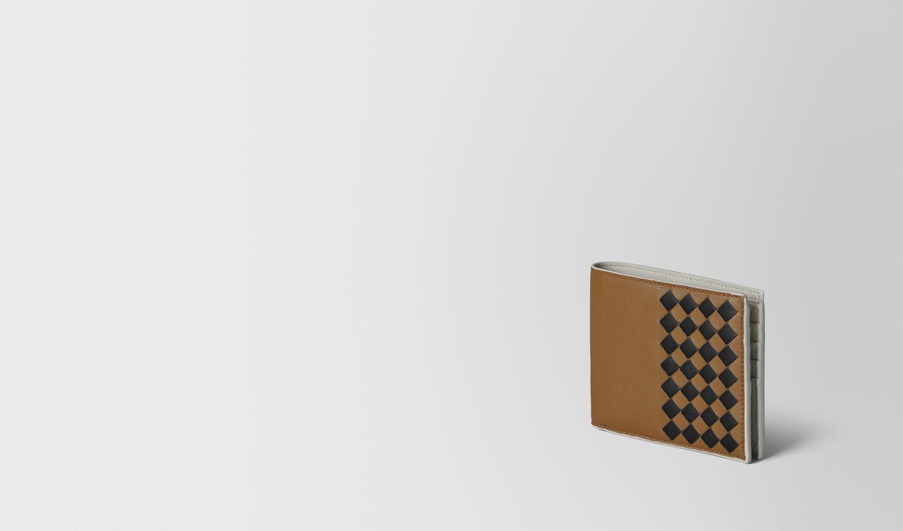camel intrecciato checker nappa bi-fold wallet landing