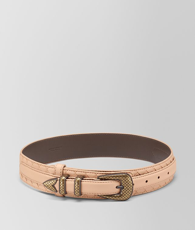 BOTTEGA VENETA PEACH ROSE INTRECCIATO NAPPA BELT Belt [*** pickupInStoreShipping_info ***] fp