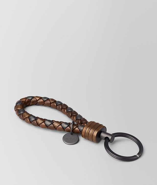 BOTTEGA VENETA DARK BRONZE INTRECCIATO NAPPA KEY RING Keyring or Bracelets E fp