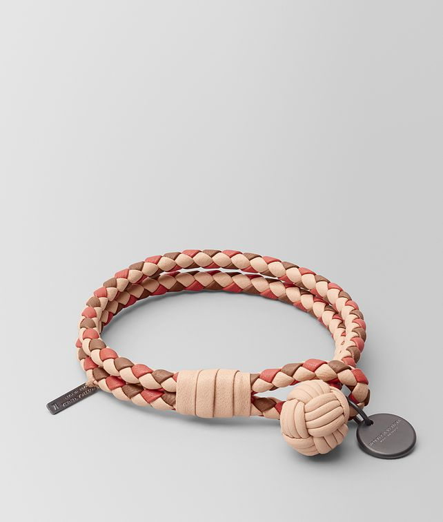 BOTTEGA VENETA PEACH ROSE INTRECCIATO LAMB CLUB BRACELET Keyring or Bracelets E fp