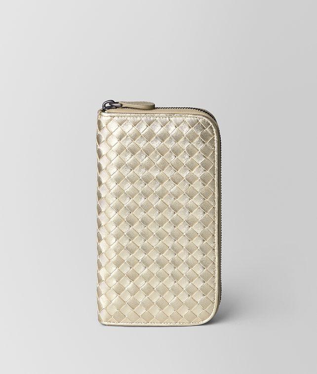 BOTTEGA VENETA PLATINO INTRECCIATO GROS GRAIN ZIP AROUND WALLET Zip Around Wallet Woman fp