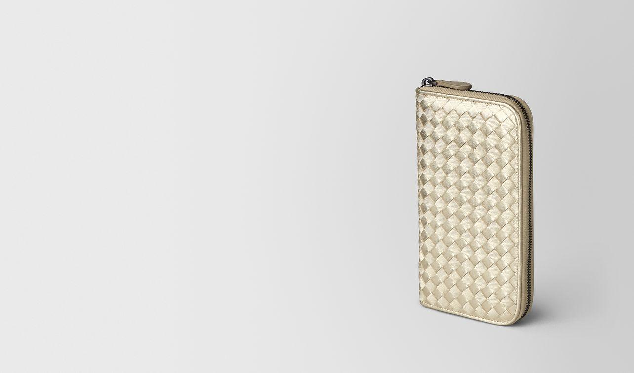 platino intrecciato gros grain zip around wallet landing