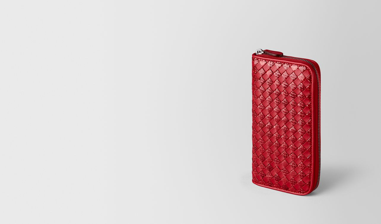 china red intrecciato checker/ayers zip around wallet landing