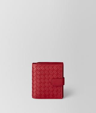 PORTEFEUILLE MINI FORMAT EN CUIR NAPPA INTRECCIATO CHINA RED