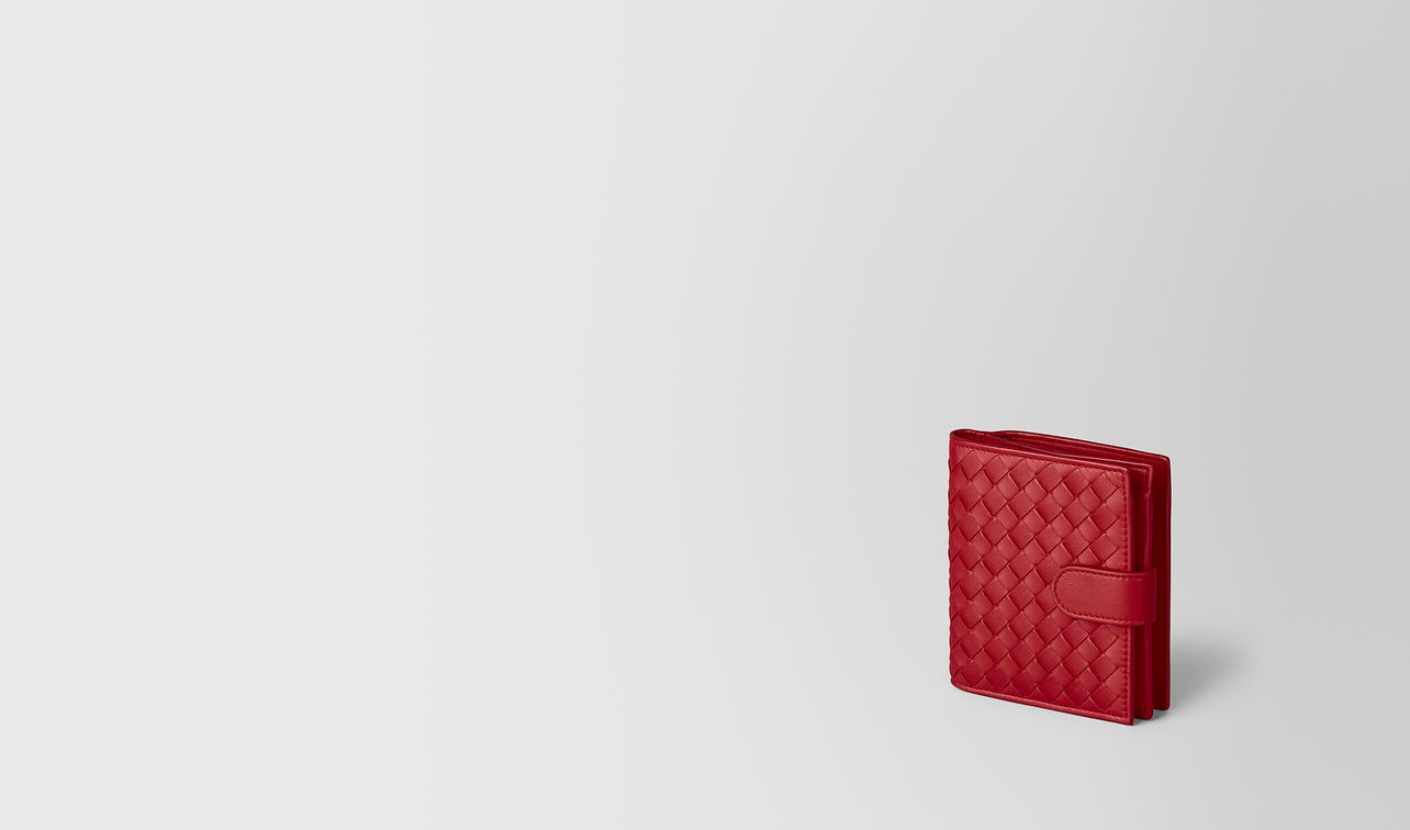 china red intrecciato nappa mini wallet landing