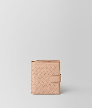 PORTEFEUILLE MINI FORMAT EN CUIR NAPPA INTRECCIATO PEACH ROSE