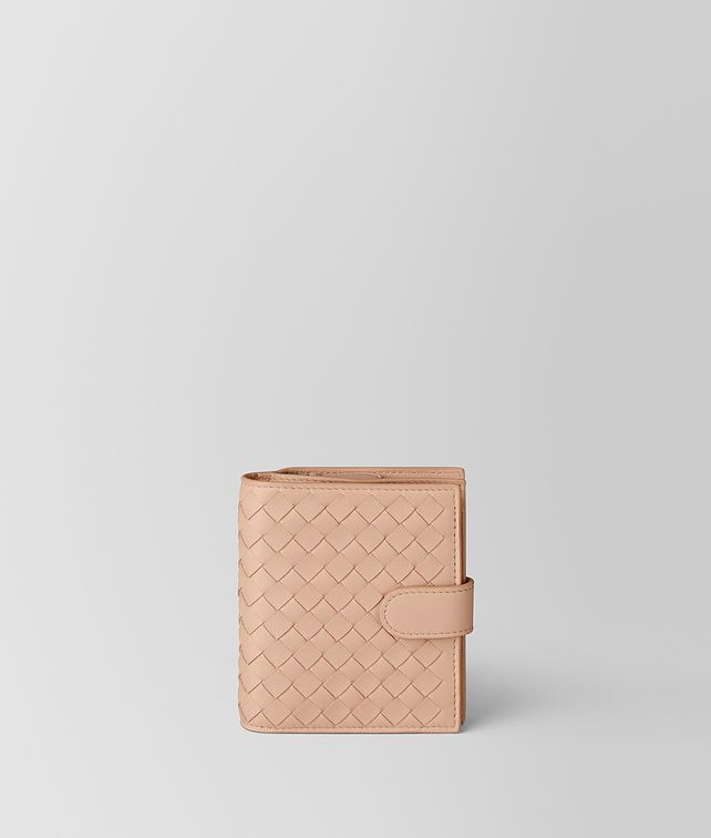 BOTTEGA VENETA PEACH ROSE INTRECCIATO NAPPA MINI WALLET Mini Wallet Woman fp