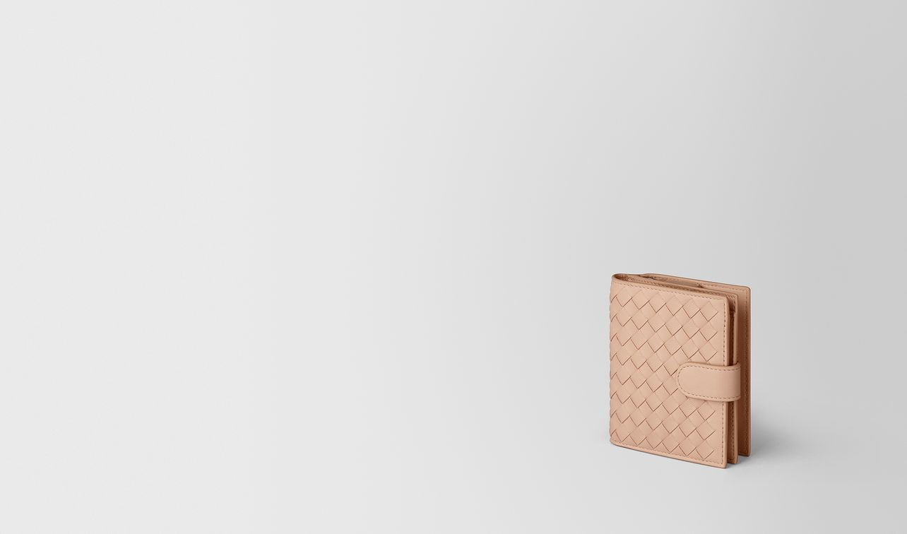 peach rose intrecciato nappa mini wallet landing
