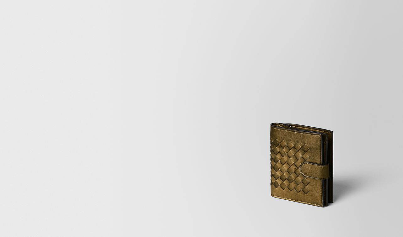 dark gold intrecciato nappa mini wallet landing