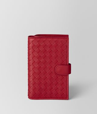 CHINA RED INTRECCIATO NAPPA FRENCH WALLET