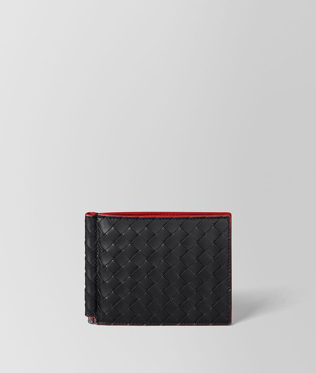 BOTTEGA VENETA NERO INTRECCIATO VN/CHINA RED NAPPA WALLET Bi-fold Wallet Man fp