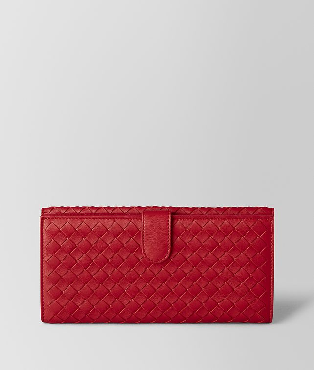 BOTTEGA VENETA CHINA RED INTRECCIATO NAPPA FRENCH WALLET Continental Wallet [*** pickupInStoreShipping_info ***] fp