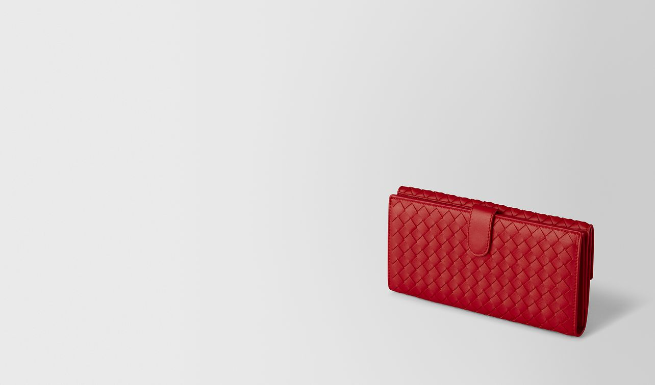 china red intrecciato nappa french wallet landing