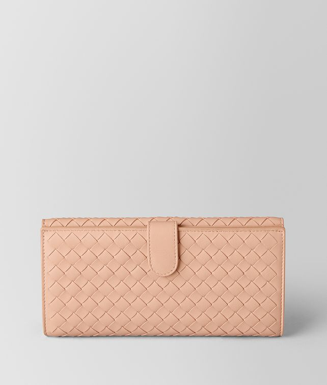 BOTTEGA VENETA PEACH ROSE INTRECCIATO NAPPA FRENCH WALLET Continental Wallet Woman fp