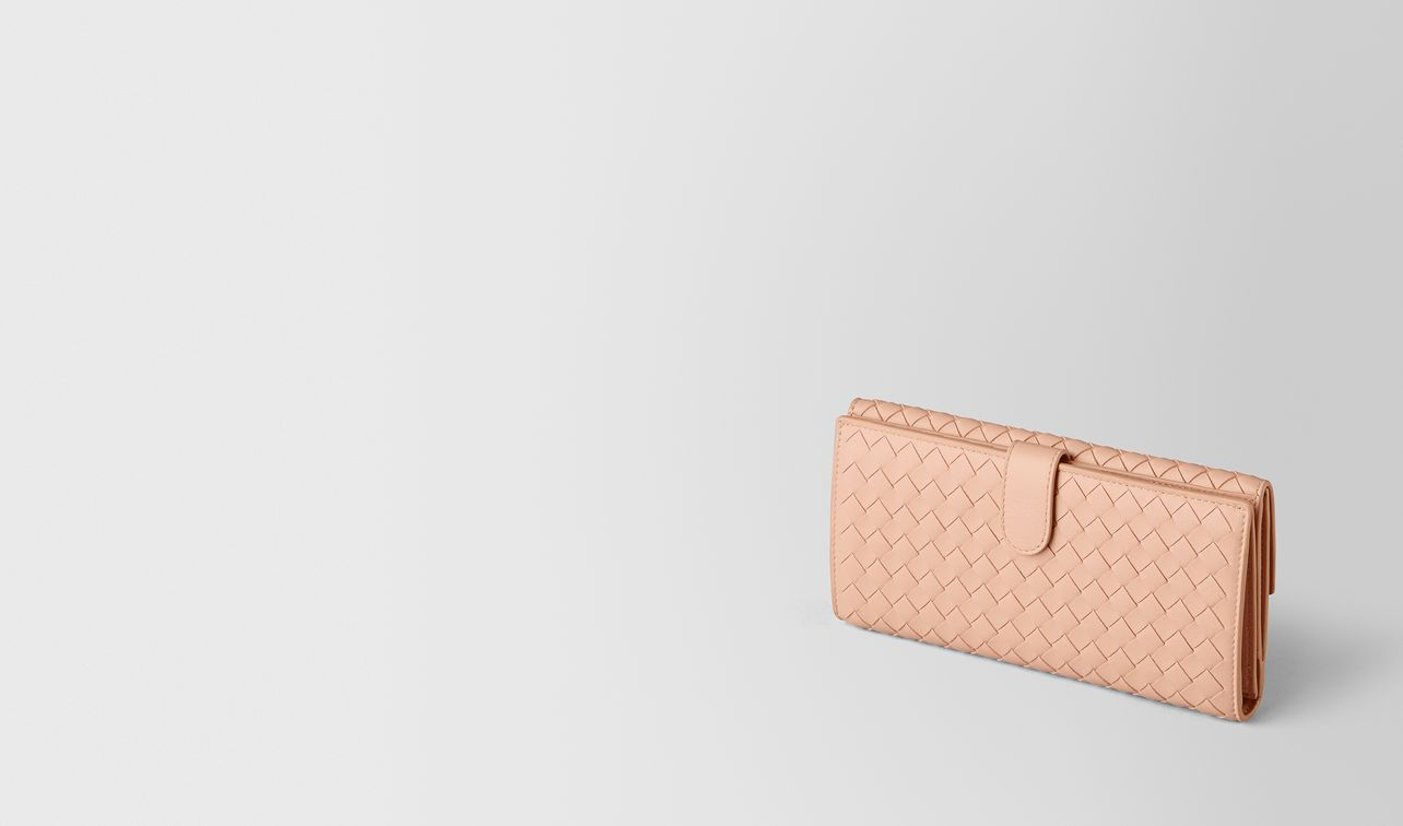 peach rose intrecciato nappa french wallet landing