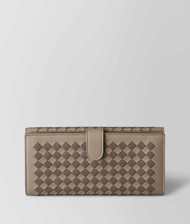 BOTTEGA VENETA LIMESTONE/STEEL INTRECCIATO CHECKER FRENCH WALLET Continental Wallet Woman fp