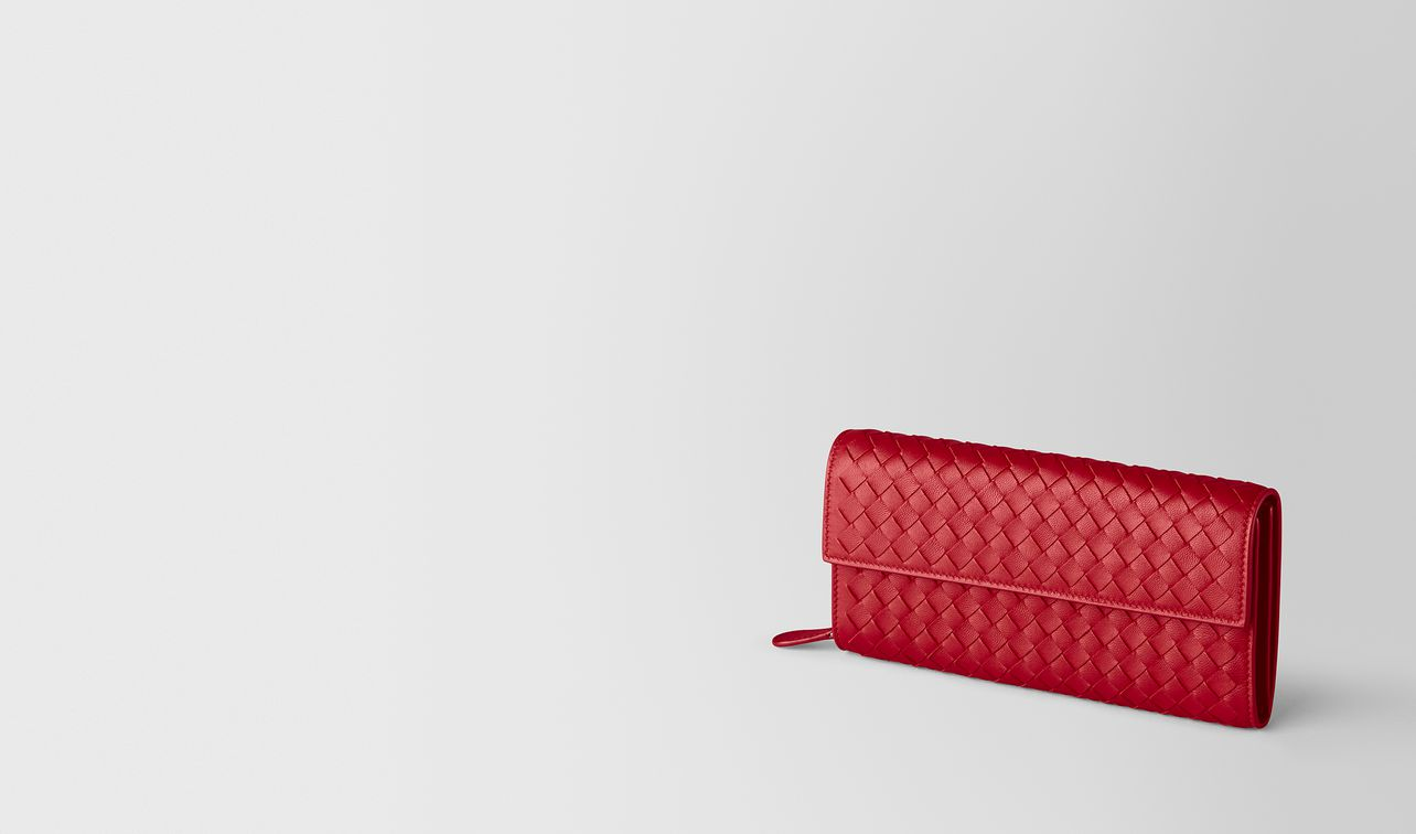 china red intrecciato nappa continental wallet landing