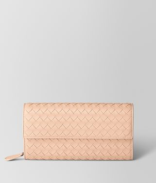 PEACH ROSE INTRECCIATO NAPPA CONTINENTAL WALLET