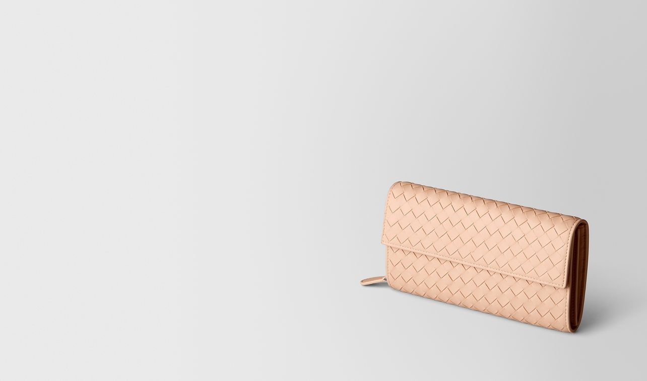 peach rose intrecciato nappa continental wallet landing