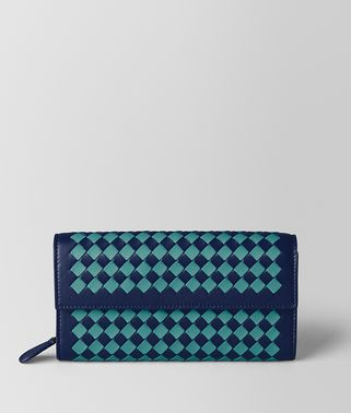 ATLANTIC/AQUA INTRECCIATO CHECKER CONTINENTAL WALLET