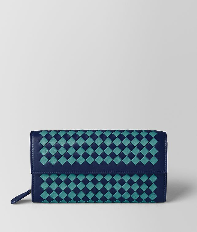 BOTTEGA VENETA ATLANTIC/AQUA INTRECCIATO CHECKER CONTINENTAL WALLET Continental Wallet Woman fp