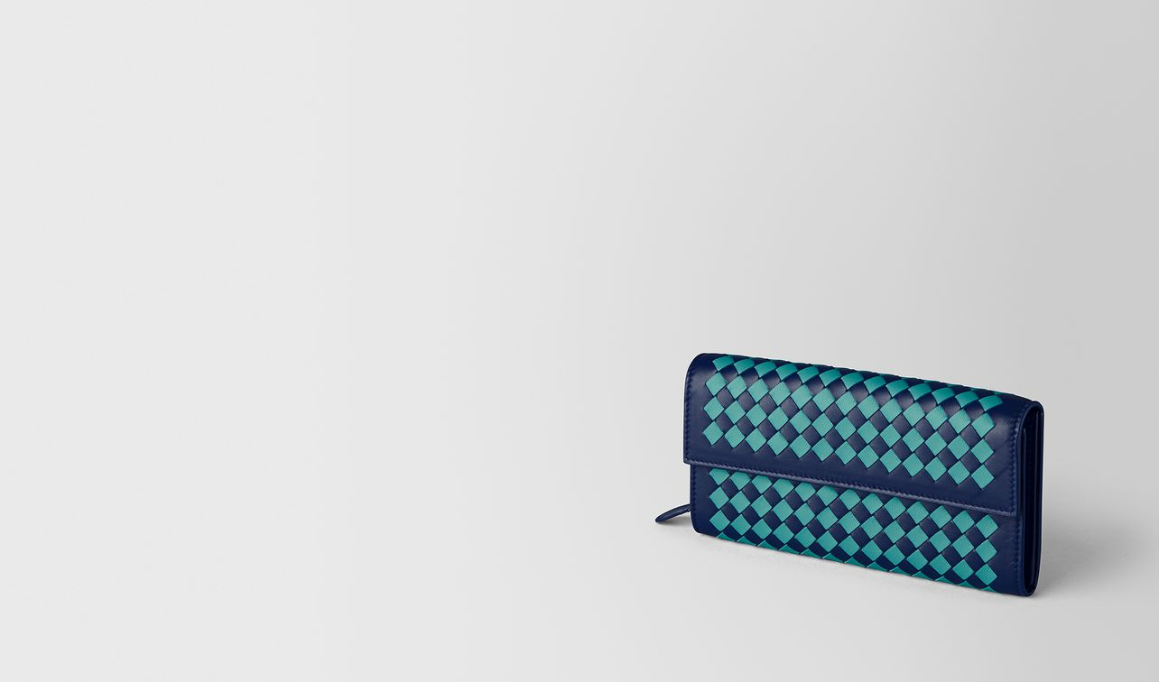 atlantic/aqua intrecciato checker continental wallet landing