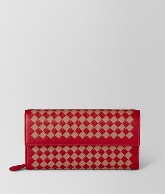 CHINA RED/DAHLIA INTRECCIATO CHECKER CONTINENTAL WALLET
