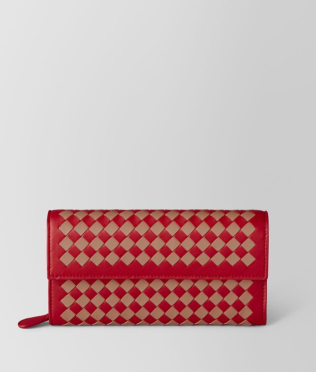 BOTTEGA VENETA PORTEFEUILLE CONTINENTAL À CARREAUX INTRECCIATO CHINA RED/DAHLIA Portefeuille continental Femme fp