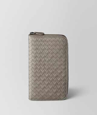 DARK CEMENT INTRECCIATO VN ZIP AROUND WALLET