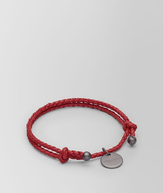 BOTTEGA VENETA BRACELET EN CUIR NAPPA INTRECCIATO CHINA RED Porte-clé ou Bracelet E fp