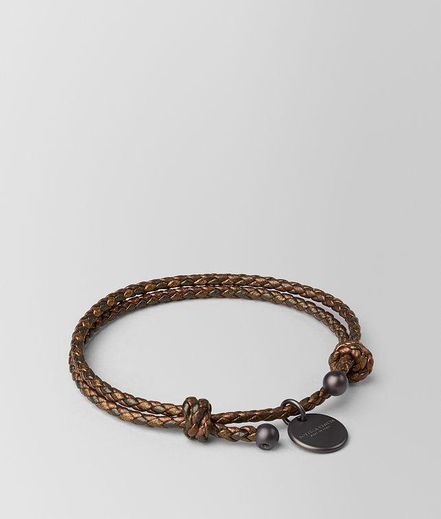 BOTTEGA VENETA DARK BRONZE INTRECCIATO NAPPA BRACELET Keyring or Bracelets E fp