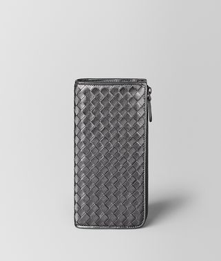 ARGENTO OSSIDATO INTRECCIATO GROS GRAIN ZIP AROUND WALLET