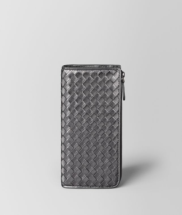 BOTTEGA VENETA ARGENTO OSSIDATO INTRECCIATO GROS GRAIN ZIP AROUND WALLET Zip Around Wallet [*** pickupInStoreShipping_info ***] fp