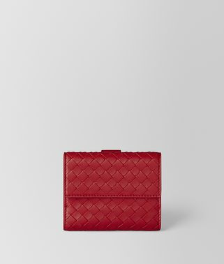 CHINA RED INTRECCIATO NAPPA MINI WALLET
