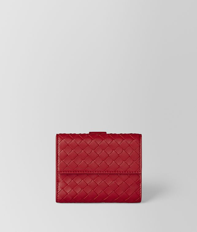 BOTTEGA VENETA CHINA RED INTRECCIATO NAPPA MINI WALLET Small Wallet Woman fp