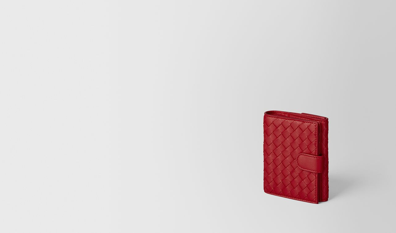 portefeuille mini format en cuir nappa intrecciato china red landing