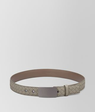 DARK CEMENT INTRECCIATO CALF BELT