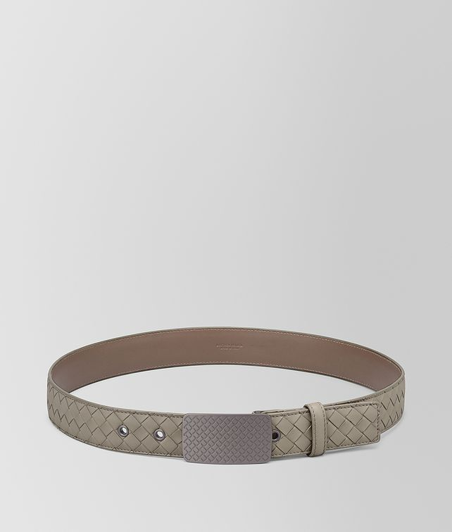 BOTTEGA VENETA DARK CEMENT INTRECCIATO CALF BELT Belt [*** pickupInStoreShippingNotGuaranteed_info ***] fp