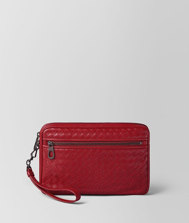 BOTTEGA VENETA CHINA RED INTRECCIATO CALF SMALL CITYDOC Document case Man fp