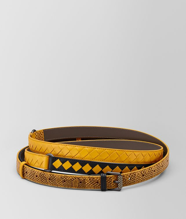 BOTTEGA VENETA NERO/SUNSET INTRECCIATO CHECK BELT Belt Woman fp